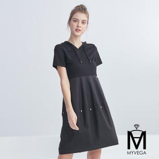 【MYVEGA 麥雪爾】MA棉質連帽花苞長洋裝