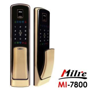 【Milre 美樂】MI-7800推拉式四合一密碼/指紋/卡片/鑰匙智能電子門鎖 香檳金(附基本安裝)