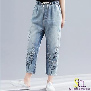 【SCL 南加州丹寧】自由風格鬆緊高腰繡花九分牛仔褲