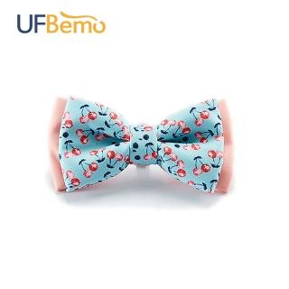 【UFBemo 優范寵物】雙層狗領結 單只裝(粉紅櫻桃 櫻桃滋味)