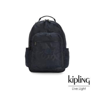 【KIPLING】光澤迷彩沉穩藍機能手提後背包-SEOUL