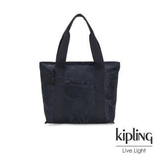 【KIPLING】光澤迷彩沉穩藍手提包-ERA S