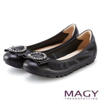 【MAGY】造型鑽飾鬆緊帶牛皮娃娃鞋(黑色)