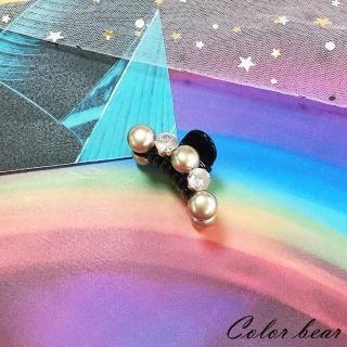 【卡樂熊】簡約珍珠水鑽造型爪夾/髮夾(黑色)