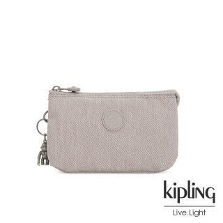 【KIPLING】溫柔燕麥色三夾層配件包-CREATIVITY L