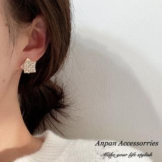 【Anpan】韓東大門925銀耳針式雙方水鑽珍珠耳環