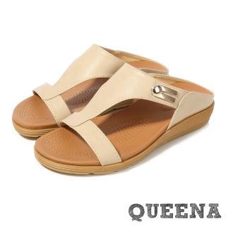 【QUEENA】復古百搭圓頭舒適平口露趾厚底拖鞋(米)