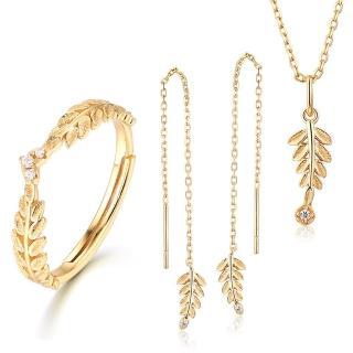 【RJ New York】金耀橄欖葉水鑽S925銀項鍊耳環戒指三件套組(金色)