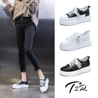 【T2R】正韓空運-增高鞋織帶造型真皮帆布鞋小白鞋隱形增高鞋-增高6公分-白(5985-1947)