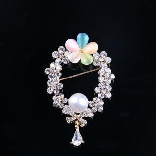 【ANGEL】蝴蝶結氣質珍珠五葉花貓眼石鑲鑽胸針別針(銀色)