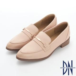 【DN】樂福鞋_MIT素面金屬扣飾牛皮尖頭樂福跟鞋(米)