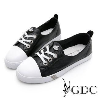 【GDC】GDC-經典百搭小皇冠俏皮可愛平底超舒適Q彈休閒鞋-黑色(014568)