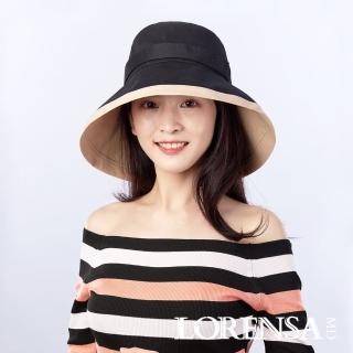 【Lorensa 蘿芮】抗UV純棉透氣配色大帽簷防曬遮陽帽