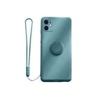 【韓式作風】IPHONE 11/11 PRO/11 PRO MAX 液態矽膠一體成型指環支架同款掛繩手機殼RCAS760(五色)