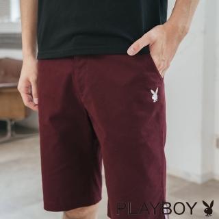 【PLAYBOY】織帶裝飾LOGO繡花短褲(暗紅色)