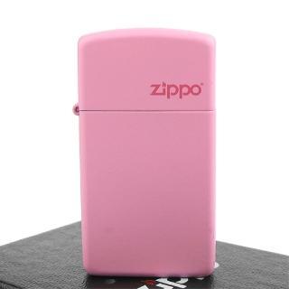 【Zippo】美系-LOGO字樣打火機-Pink Matte粉紅烤漆(窄版)