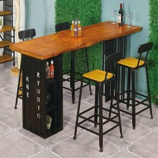 【AT HOME】美式輕工業6尺貨櫃造型實木鐵藝吧台桌/餐桌/洽談桌/休閒桌/工作桌(比爾)