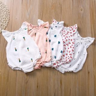 【橘魔法】透氣棉紗布包屁衣 女童 無袖 包屁衣 連身衣 嬰兒 新生兒(橘魔法 現貨)