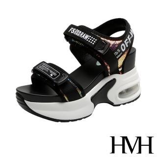 【HMH】璀璨亮片拼接英文印字織帶時尚氣墊內增高運動風涼鞋(黑)