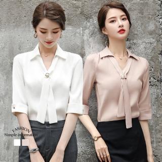 【Alishia】氣質時尚襯衫V領雪紡上衣 M-3XL(現+預 白色 / 粉色)