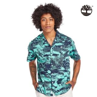 【Timberland】男款比斯開灣綠夏日森林府綢短袖襯衫(A2BBDAF0)
