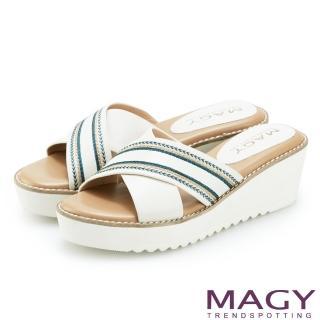 【MAGY】異國繡線寬版交叉牛皮厚底拖鞋(白色)