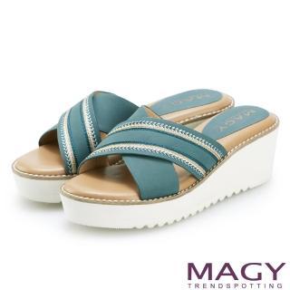 【MAGY】異國繡線寬版交叉牛皮厚底拖鞋(藍綠)