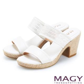 【MAGY】牛皮拼接網布水鑽編織粗跟拖鞋(白色)