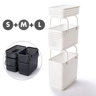 【like-it】(窄款)隙縫型多功能可堆疊含蓋收納籃 洗衣籃(三層組)
