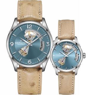 【HAMILTON 漢米爾頓】爵士開芯機械對錶-湖水藍x卡其皮帶(H32705842+H32215840)