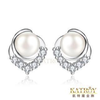 【KATROY】天然珍珠 925純 經典耀眼 5.0-5.5 mm 白珍珠  耳針式耳環 FG6080(銀色款)