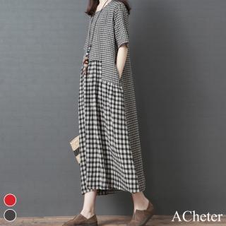 【ACheter】京都復古大小格拼接棉麻舒適涼爽洋裝106810現貨+預購(2色)
