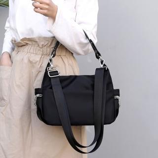 【Acorn 橡果】新款多功能防水包斜背包手提包側肩包水餃包6595(黑色)