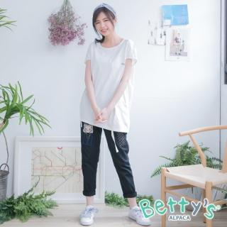 【betty's 貝蒂思】動物拼布彈性腰圍休閒長褲(黑藍)