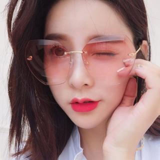 【OT SHOP】太陽眼鏡 墨鏡 無框 W48(漸層鏡面海洋片切邊 歐美百搭 抗UV400)