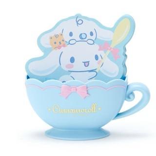 【小禮堂】大耳狗 咖啡杯造型置物盒便條紙組《藍白》留言紙.收納盒