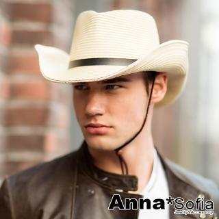 【AnnaSofia】防曬遮陽紳士帽爵士帽草帽-黑層摺帶 寬簷(米系)