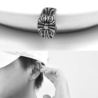 【men life】夾式耳環 帥氣十字鋼耳骨夾(耳夾耳環)