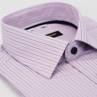 【金安德森】粉紫黑條紋內領黑條黑釦窄版長袖襯衫
