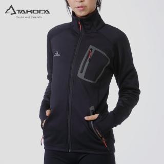 【TAKODA】中層刷毛保暖外套 女款 黑色(休閒外套/保暖中層/機能外套)