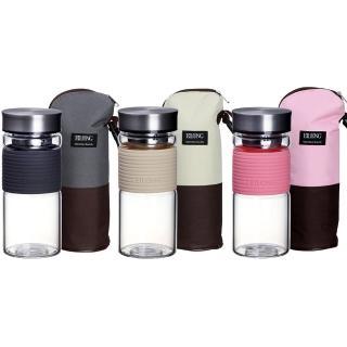 【Eilong 宜龍】彩妍寬口玻璃泡茶杯450ml+牛津布雙色保溫保冷袋(共3色)