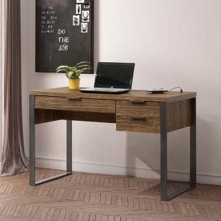 【AT HOME】現代鄉村4尺胡桃色USB三抽收納書桌/電腦桌/工作桌(雅博德)