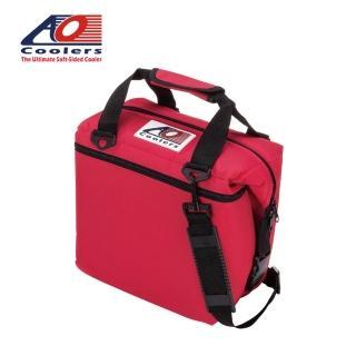 【AO COOLERS】酷冷軟式輕量保冷托特包-12罐型 -經典帆布CANVAS系列 復古紅(保冷袋)