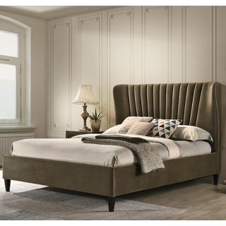 【AT HOME】現代設計6尺棕色布質雙人床(不含床墊/曼特寧)