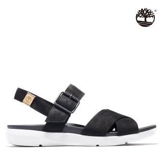 【Timberland】女款黑色磨砂革交織涼鞋(A27T6015)