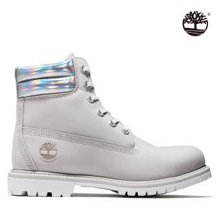 【Timberland】女款淺灰色磨砂革基本6吋靴(A25YQL96)