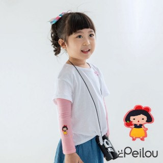 【PL Life】貝柔UPF50+兒童高效涼感防蚊抗UV袖套(白雪公主刺繡)