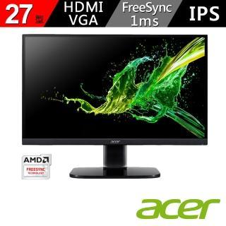 【Acer 宏碁】27型 IPS 廣視角 1ms 支援FreeSync 可壁掛 HDMI介面 護眼螢幕(KA272)