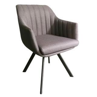 【AT HOME】現代簡約灰布鐵藝餐椅/休閒椅(卡羅)