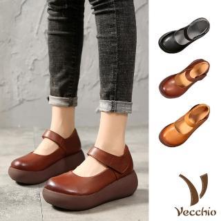 【Vecchio】全真皮頭層牛皮經典小圓頭魔鬼粘輕量厚底復古娃娃鞋(3色任選)